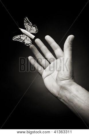 Hombre mano tratando de atrapar una mariposa con un lápiz como cuerpo