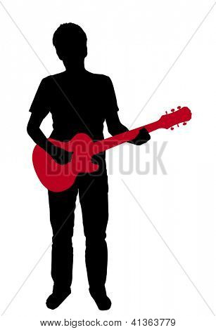 silhouette of a guitar with an electric guitar on white background