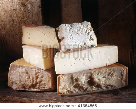 Selection Of Cheeses At Market