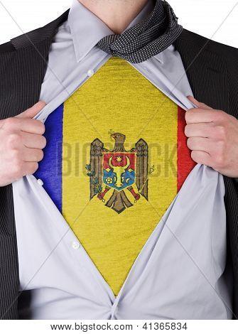Business Man With Moldavian Flag T-shirt