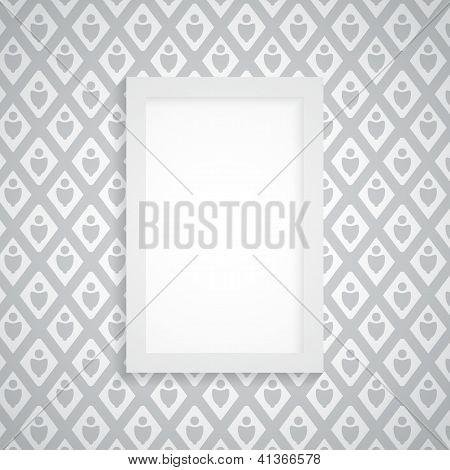 Vector Simple marco en blanco sobre fondo gris
