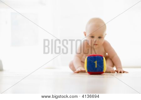 Baby Sitting Indoors With Block