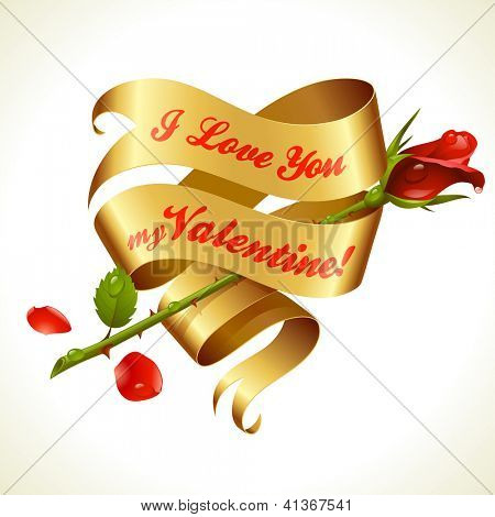 Ribbon banner in the shape of heart and red rose. Valentine's Day Card 5