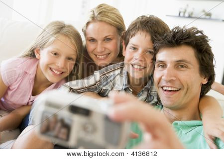 Families Taking Self Portrait With Digital Camera