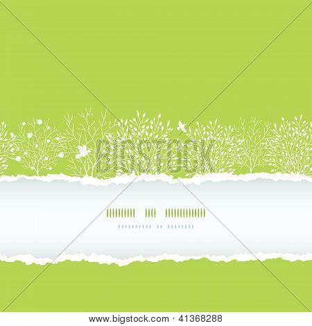 Primavera árvores papel rasgado boder horizontal sem costura padrão