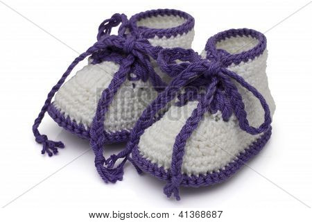 Purple And White Hand-made Baby Booties