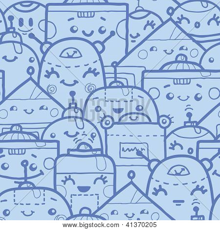 Cute doodle robots seamless pattern background