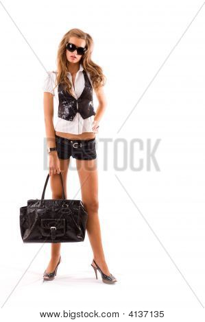 Fashion Model With Big Bag.
