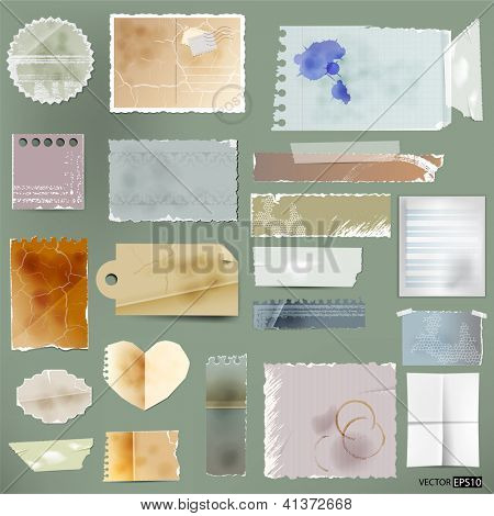 Vector aged paper set.