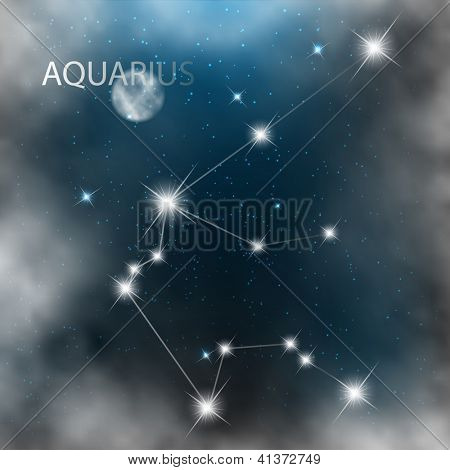 Aquarius vector Zodiac sign bright stars in cosmos.