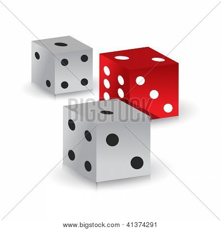 Red And White Gamble Dices