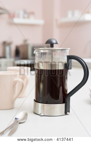 Coffee Pot On Kitchen Counter