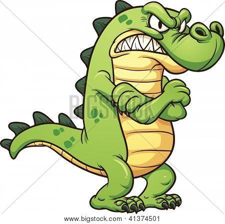 Grumpy cartoon crocodile. Vector clip art illustration with simple gradients. All in a single layer.