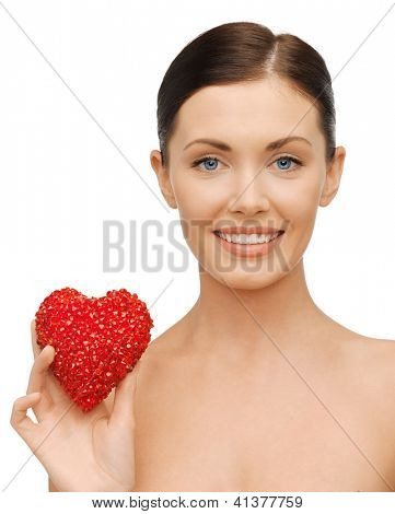 bright picture of beautiful woman with heart