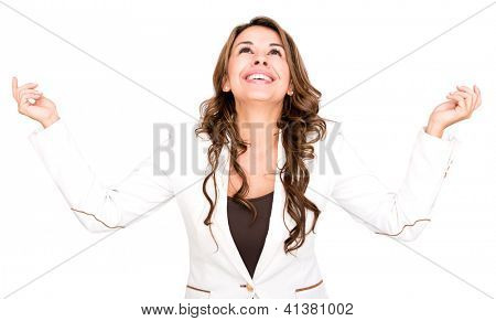 Successful business woman looking up - isolated over a white