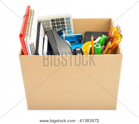 Cardboard box collected �¢�?�? unemployment concept