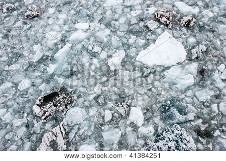 Floating glacier ice