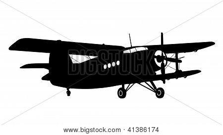 Silhouette Of A Biplane