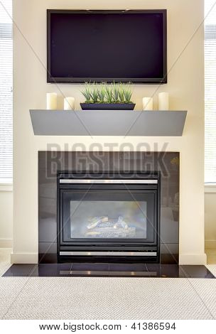 Modern New Fireplace With Large Tv.