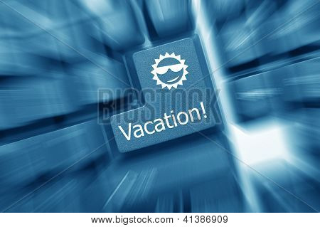 Conceptual Keyboard - Vacation Key (blue Toned). Zoom Effect