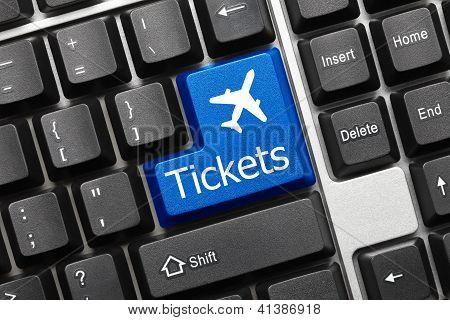 Conceptual Keyboard - Tickets (blue Key With Aeroplane Symbol)