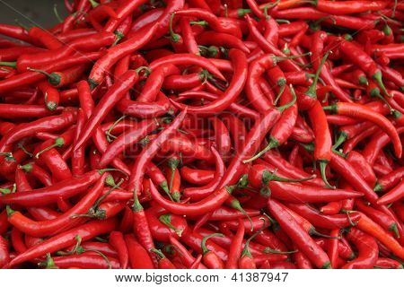 Chili peppers at the market