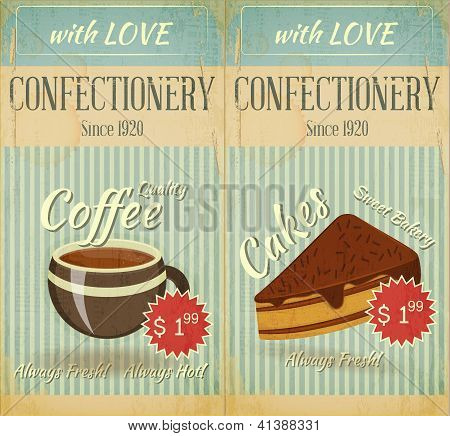 Vintage Two Cards Cafe Confectionery  Dessert  Menu
