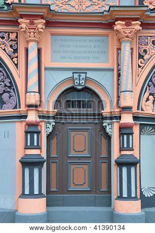 Portal Of Cranach House In Weimar