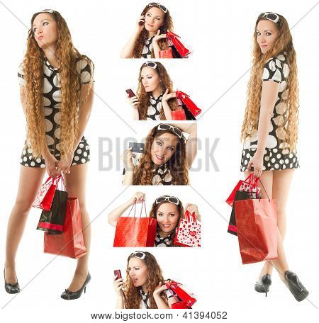 Collage Of A Young Happy Woman Doing Shopping With Credit Card  Isolated On White Background