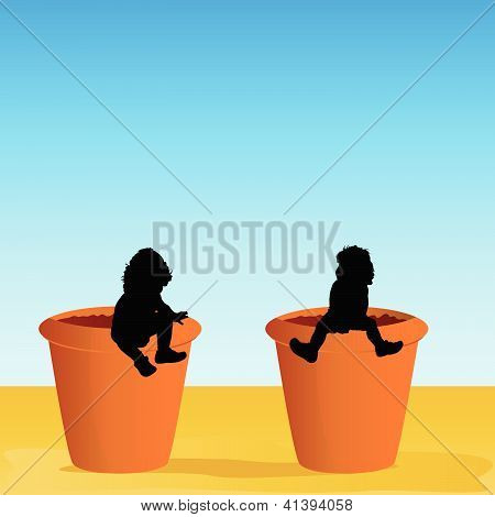 Flowerpot With Baby Vector Illustration