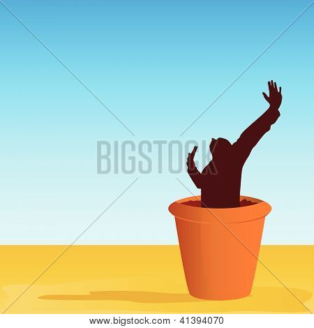 Flowerpot With Man Vector Illustration