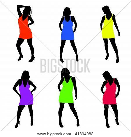 Sexy Girl In Dress Vector Illustration Part Two