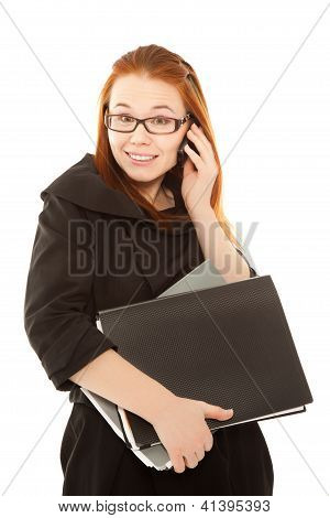 Beautiful Businesswoman Talking To Phone And Smiling