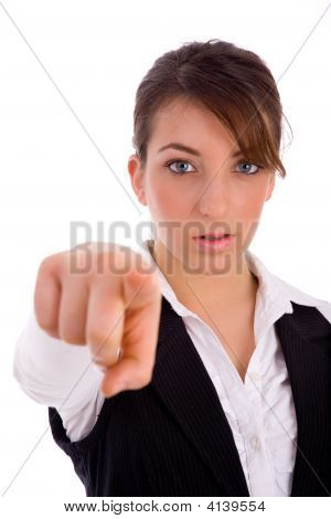 Corporate Woman Pointing