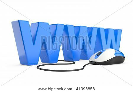 Internet Symbol Www Connected To A Mouse