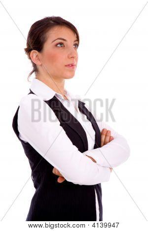 Side View Of Businesswoman Looking Upward