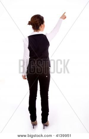 Backpose Of Indictaing Businesswoman