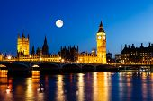 picture of westminster bridge  - Full Moon above Big Ben and House of Parliament London United Kingdom - JPG