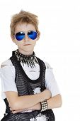 stock photo of pre-teen boy  - Portrait of punk pre - JPG