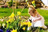 stock photo of easter eggs bunny  - Little Girl on an Easter Egg hunt on a meadow in spring - JPG