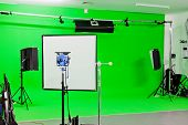 picture of bouncing  - Green Screen video production studio with lights set ready for filming - JPG