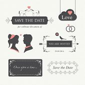 wedding invitation, with logo design element editable