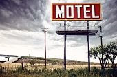 picture of motel  - Old motel sign on Route 66, USA