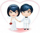 pic of chibi  - A vector illustration of a bride and groom dressed for their wedding day - JPG