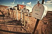 stock photo of mailbox  - Old Mailboxes in west United States - JPG