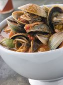 Bowl Of Manhattan Clams With Hot Chilli Sauce