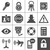 stock photo of cctv  - Security and warning icons - JPG