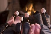 Feet Warming At A Fireplace With Marshmallows On Sticks poster