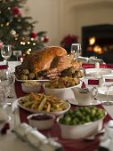 stock photo of turkey dinner  - Roast Turkey Christmas Dinner - JPG