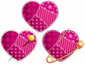 picture of scrappy  - Vector illustration of  hearts from patches pierced with pins - JPG